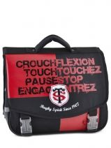 Cartable 2 Compartiments Stade toulousain Noir red and black 123T203S