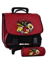 Cartable A Roulettes 2 Compartiments + Trousse Angry birds Rouge target AGU23070