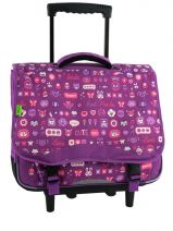 Cartable A Roulettes 2 Compartiments Tann's Violet fun girl 4FGTCA41
