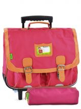 Cartable A Roulettes 2 Comp + Trousse Offerte Tann's Rose kid classic 14TCA41