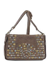 Sac Bandouliere Porte Travers Studs Leather Basilic pepper Brown studs 5780